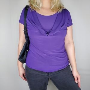 American City Wear Dark Purple Cowl Neck Top